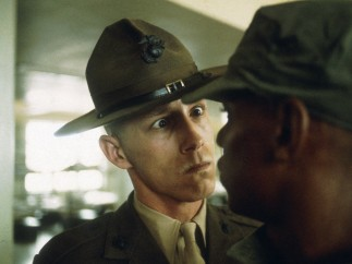 A US Marine drill sergeant delivers a severe reprimand to a recruit, Parris Island, South Carolina 1970