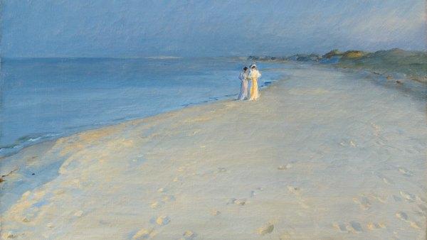 ´Summer evening at the South beach, Skagen. Anna Ancher and Marie Krøyer, 1893´