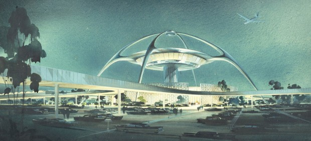 LAX, Theme Building; perspective view, 1961