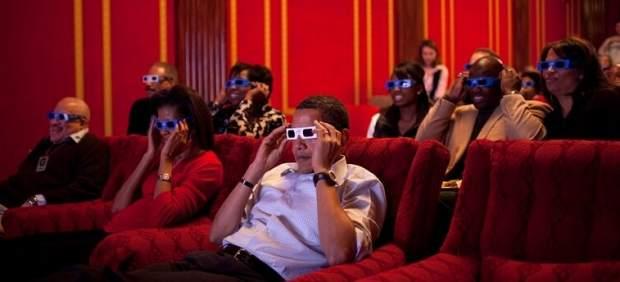 La familia Obama viendo los Oscar