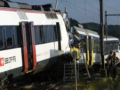 Colisión trenes en Suiza