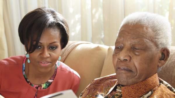 Michelle Obama, con Mandela