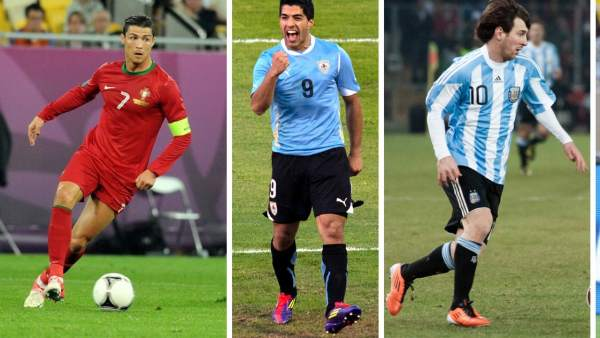 Cristiano, Luis Suárez, Messi, Neymar e Iniesta