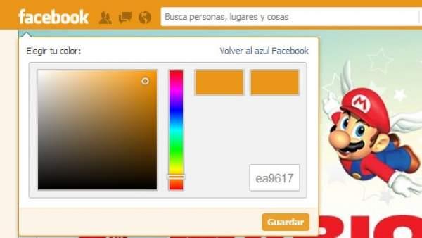 Cambiar el color de Facebook