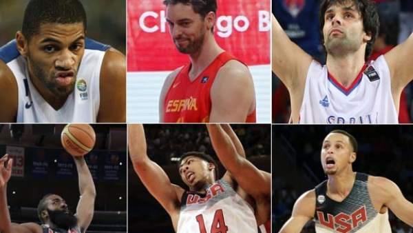 Batum, Pau Gasol, Teodosic, Harden, Davis y Curry.
