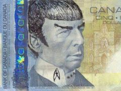 Billete de 5 dólares canadienses con la cara de Spock