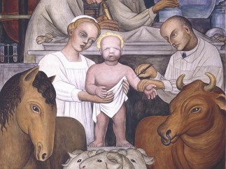 Detroit Industry, north wall (detail, vaccination), Diego Rivera, 1932-33