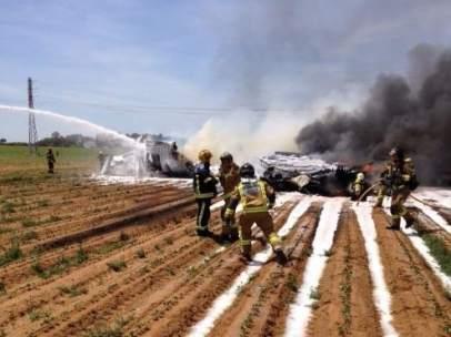 Accidente de un avión militar en Sevilla