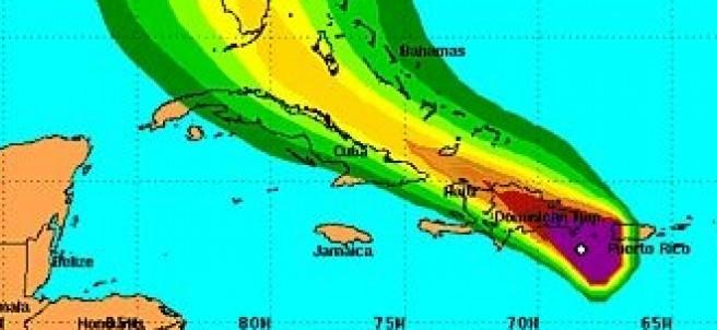 Trayectoria de la tormenta tropical Erika